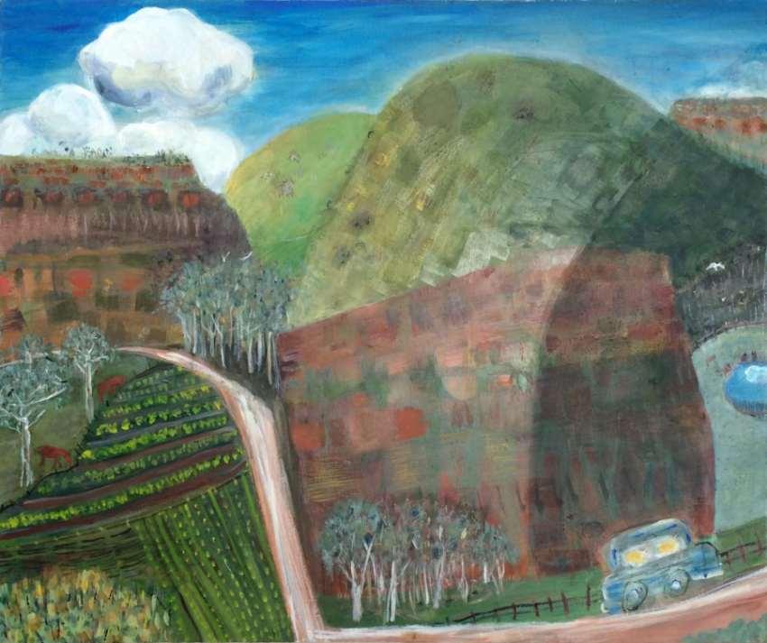 MAGGIE MACKENZIE: Sunday Drive Megalong Medium: Acrylic on canvas Size: 96cm x 72cm 2014