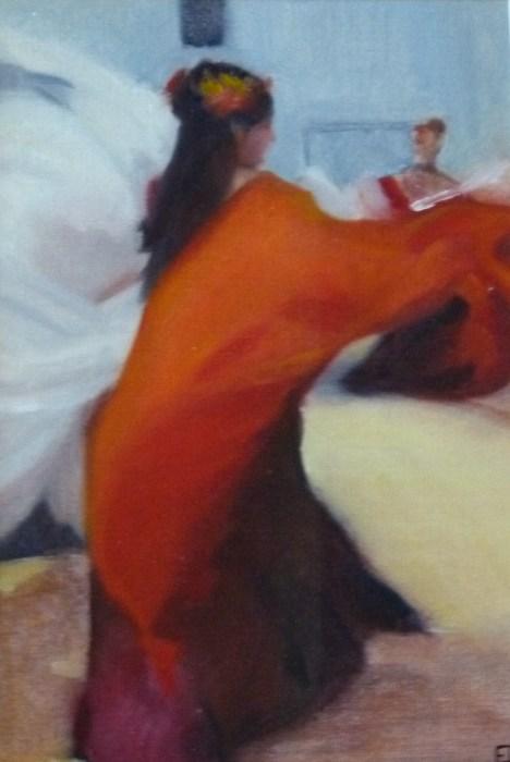 ELIZABETH BRYDEN: Gwarzi Dancers Medium: Oil Size: 30 x 50 cms 2012