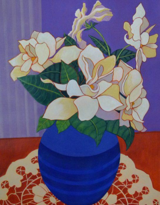ELIZABETH BRYDEN: Gardenias Medium: Acrylic Size: 90 x 120 cms 2014