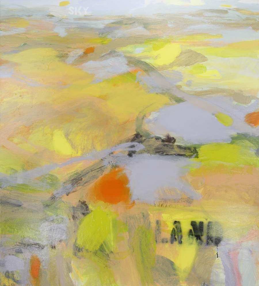 RUTH le CHEMINANT: Land: Sky Medium: Acrylic paint on canvas 100cm x 90cm 2015