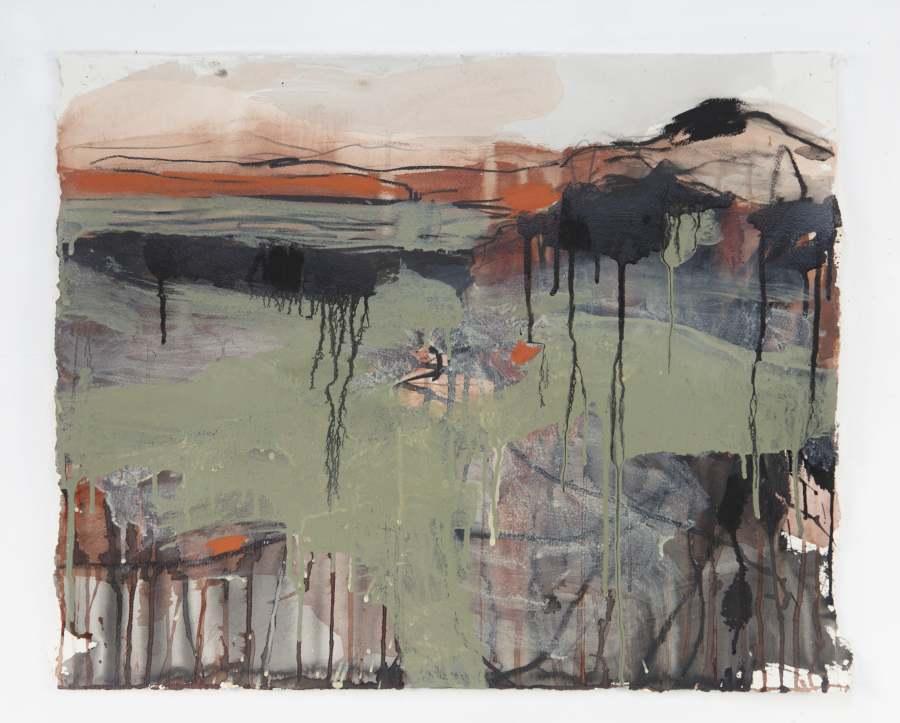 RUTH le CHEMINANT: Flat rock escarpment 2 Medium: Mixed media on paper 52cm x 64cm 2014