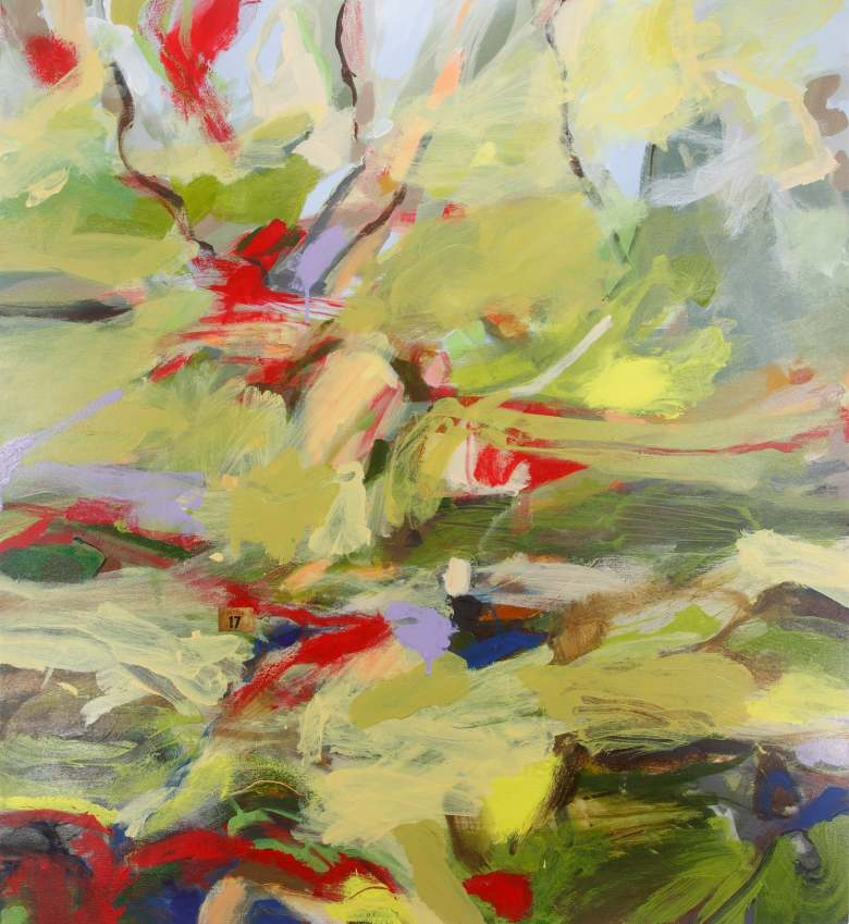 RUTH le CHEMINANT: There's a lot of red in the landscape #17 Medium: Acrylic paint on canvas 100cm x 90cm 2015