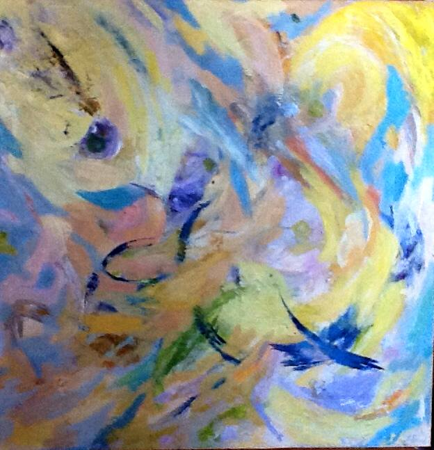 GILLIAN HAND: FLURRY Medium: Acrylic painting Size: 50cm x 50cm 2014