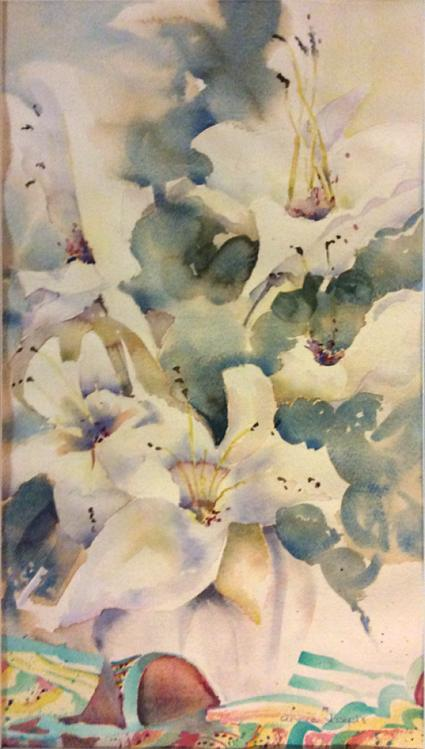 ANNIE JOSEPH: Still Life Lilies Medium: Watercolour Size: 30cm x 42cm 2016