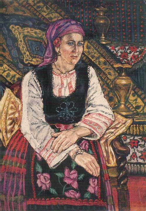 FIONA O'BEIRNE: Girl in Bulgarian costume Medium: Pastels Size: 100cm x 130cm