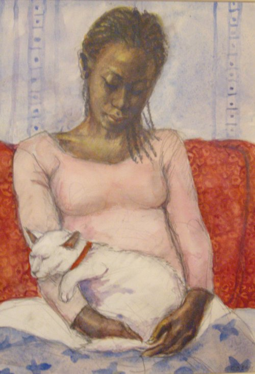 FIONA O'BEIRNE: Girl with a cat Medium: Watercolour Size: 21cm x 11cm