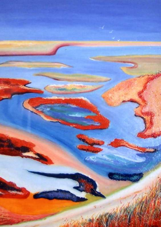 LYN WALKER: THE ROAD TO COORONG Medium: Acrylic Size: 85cm x 95cm $1150 2012