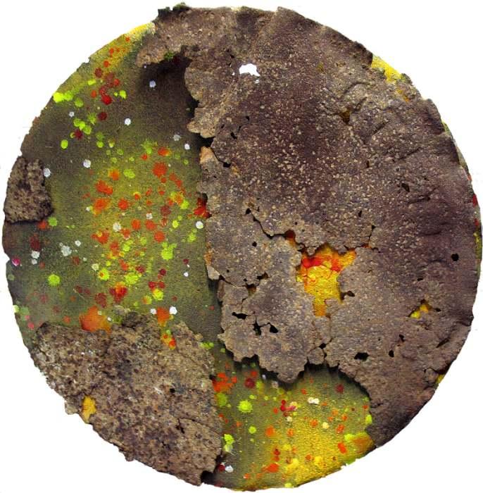 KIM GRACE: Dark Side of the Sun 65cm Acrylic paints, chalk, ink on 2 rusty 44 gallon drum lids