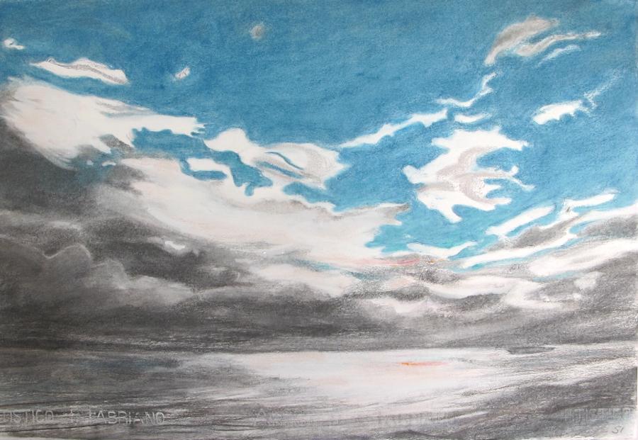 SUSAN INGRAM: Dirk Hartog Island Sky Charcoal and pastel 39 x 56cm 2016