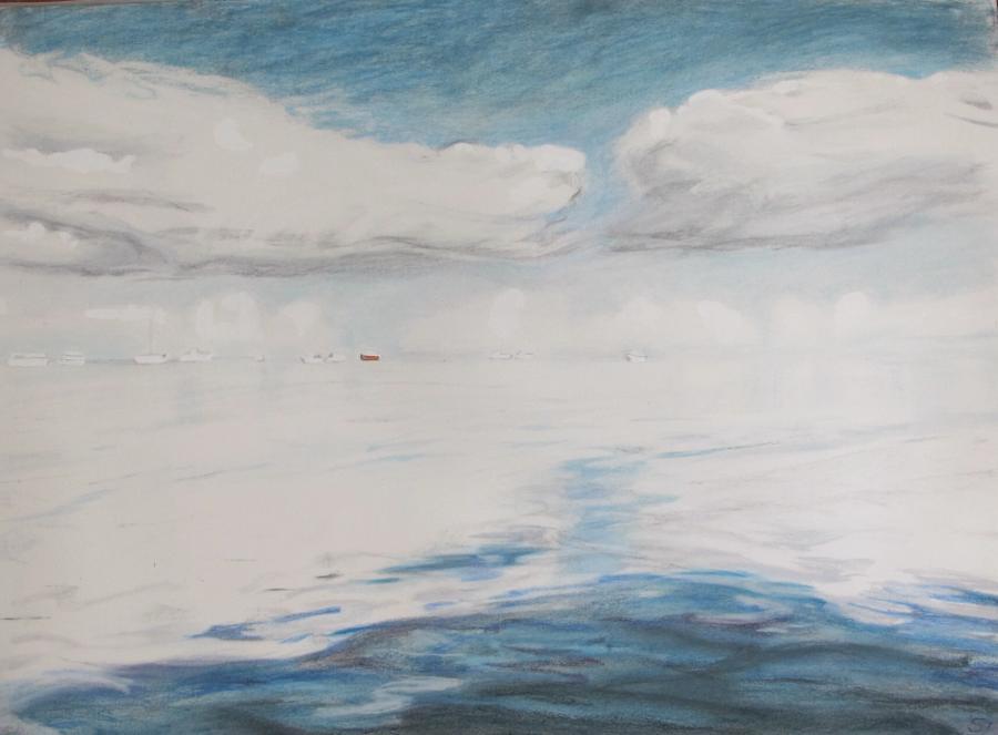 SUSAN INGRAM: Sky and Water, Denham WA Charcoal, gouache and pastel 56 x 76cm 2016