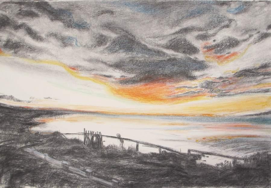 SUSAN INGRAM: West of West, Dirk Hartog Island Charcoal and pastel 39 x 56cm 2016