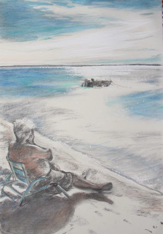 SUSAN INGRAM: Boags on the Beach Charcoal, gouache and pastel 56 x 39cm 2016