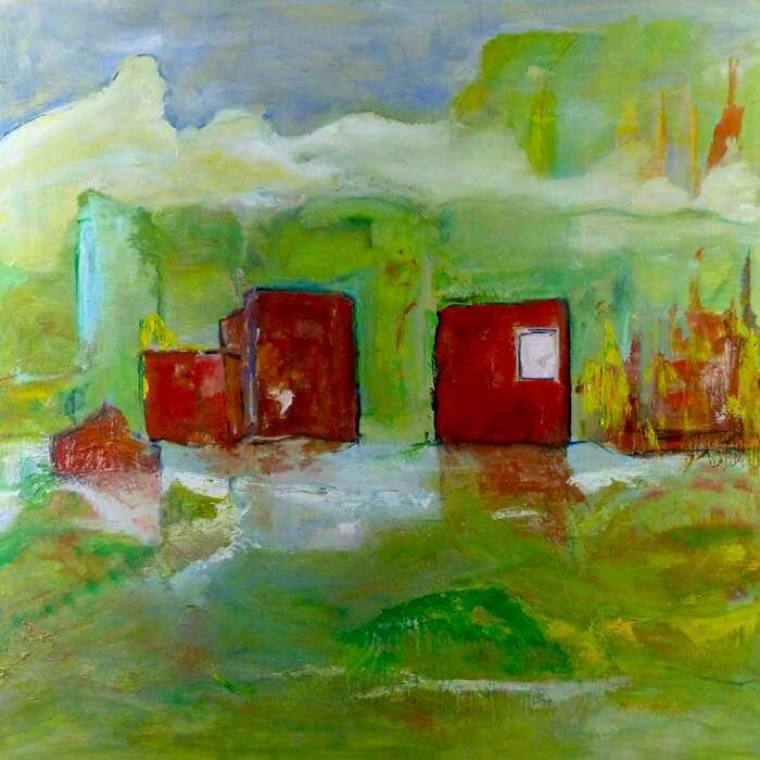 SWAMPY FARMLAND. Oil on canvas. 92cm x 92cm.