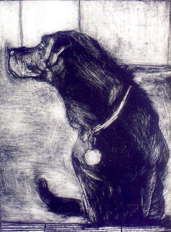 the kitchen step drypoint monoprint 1999