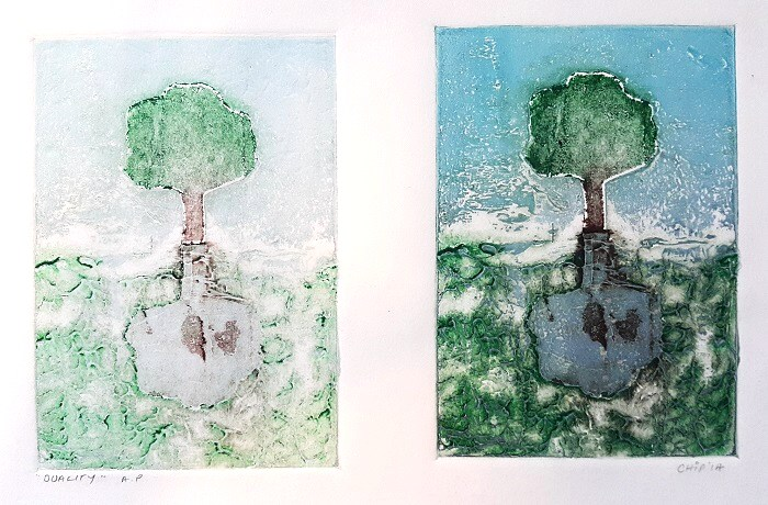 Jo Chipperfield. Duality. 15 x 20cm Collagraph 2014