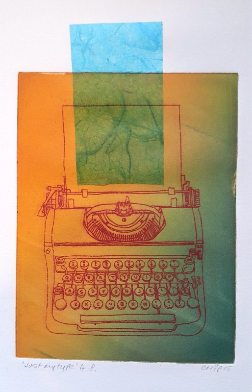 Jo Chipperfield. Just My Type. 15 x 20cm Solar etching & chine collee 2015