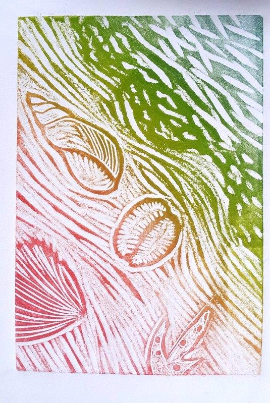 Jo Chipperfield. Shoreline. 10 x 15cm Linocut 2006