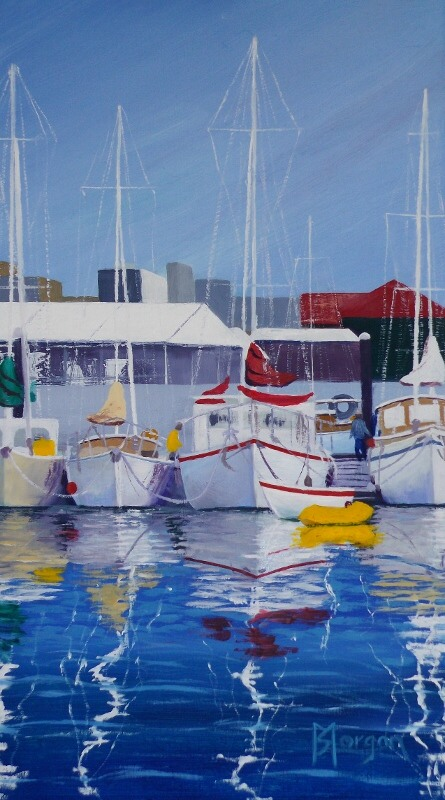 Sheryl Morgan: Reflections in the bay 30 x 20cm oil 2015
