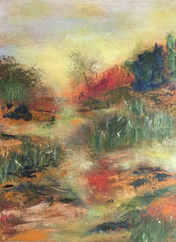 Gillian Hand: Bush walk 30x40 Acrylic painting 2017