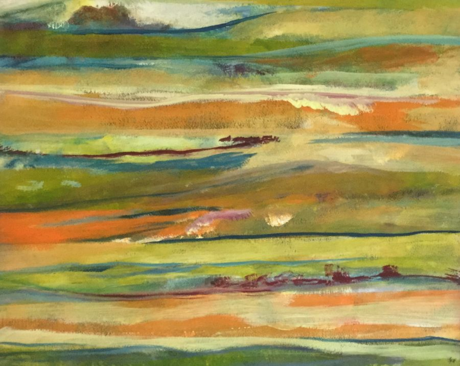 Gillian Hand: Fields 50x70 Acrylic painting 2018