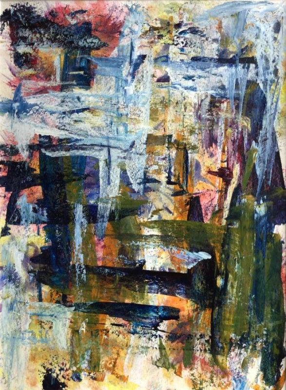Gillian Hand: Through the garden gate 45x65 Acrylic painting 2016