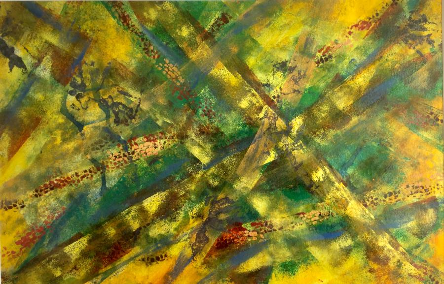 Gillian Hand: Forest floor 45x65 Acrylic painting 2017