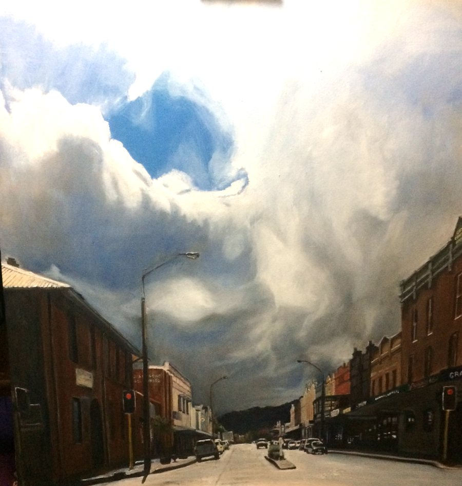 Linda Hemmings: Lithgow Main St After Rain 76 x76 cm oil June 2017