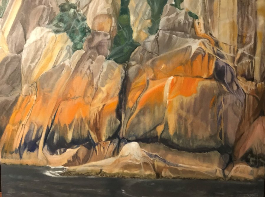 VANESSA WHITTINGTON: Freycinet coast 102w X 76h oil on linen 2017
