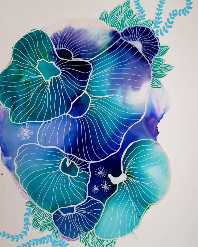 Julie Hansen: Blue Coral Reef 21 X 30 Yupo Paper, Alcohol Ink, Isopropyl Alcohol, Posca Pen
