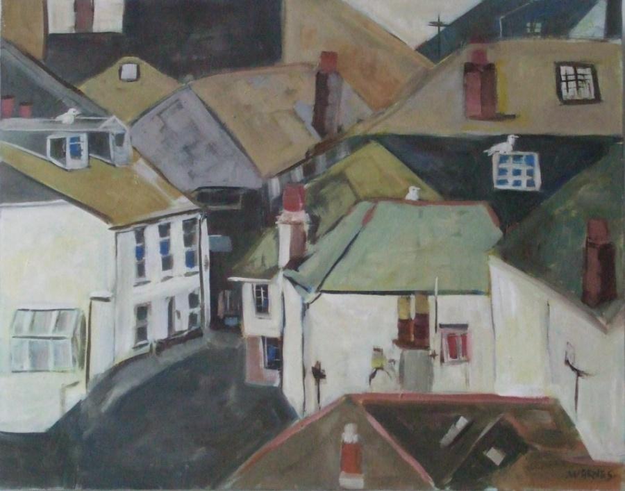 Ann Warnes:  Rooftops Over St Ives   Oil
