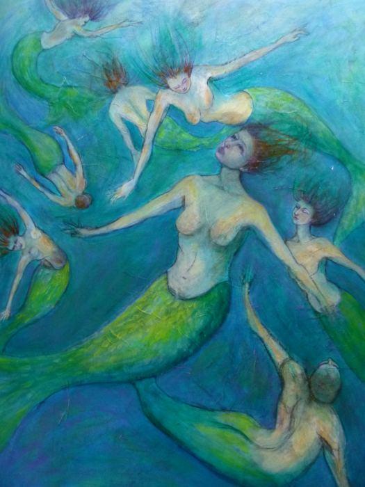 ELIZABETH BRYDEN: Mermaids Medium: Acrylic Size: 90 x 120 cms 2014