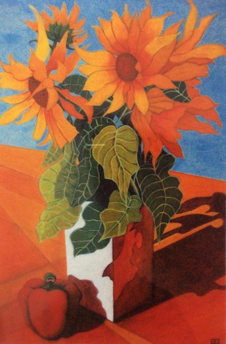 ELIZABETH BRYDEN: Sunflowers Medium: Acrylic Size: 90 x 120 cms 2012