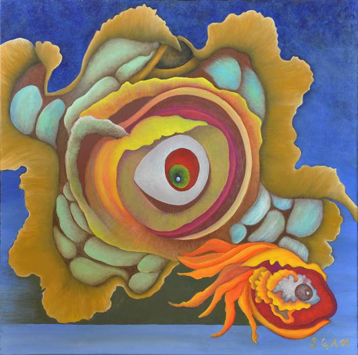 SALLY COPPARD: ah scuttlebug, Medium: Oil ON CANVAS, 45cm x 45cm 2009