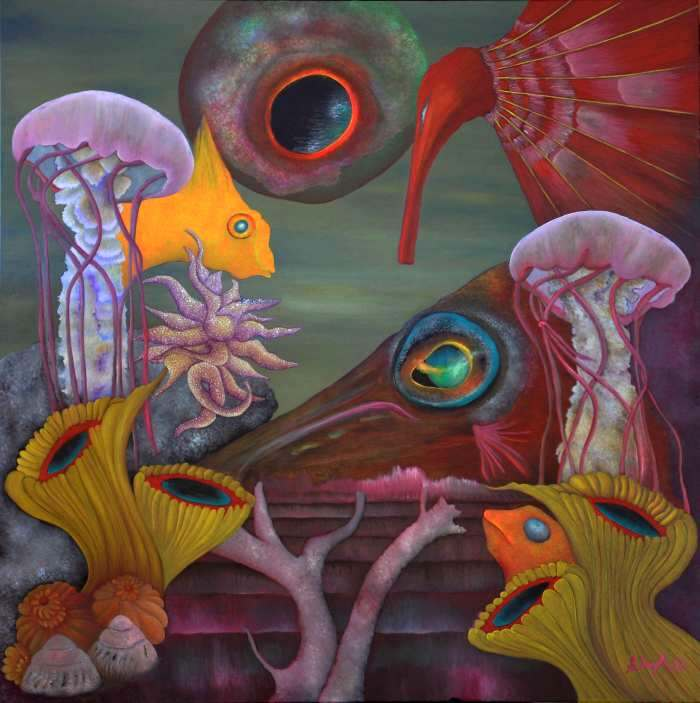 SALLY COPPARD: Congress of Creatures of the Sea Medium: Oil ON CANVAS Size: 90cm x 90cm 2012