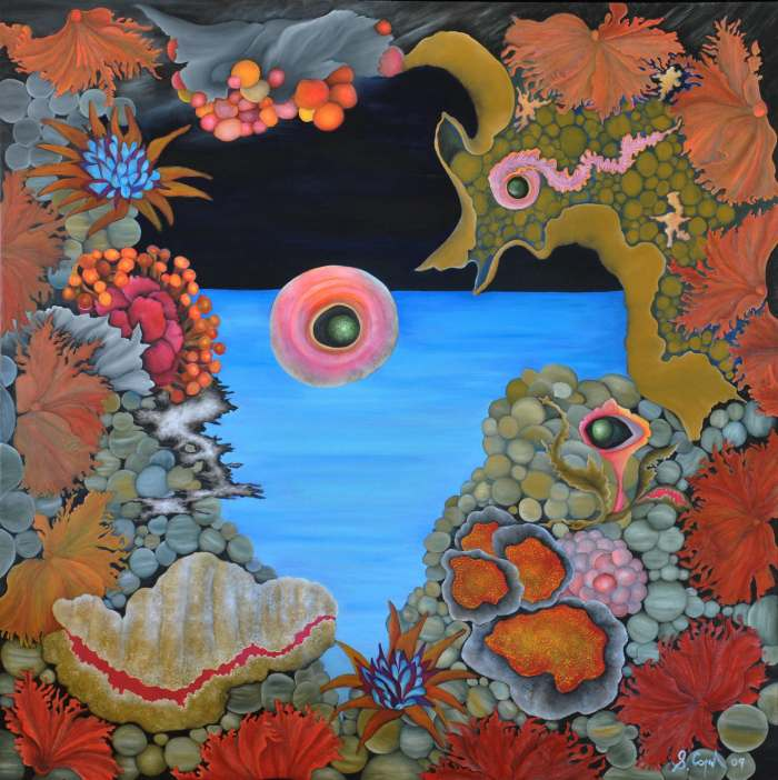 SALLY COPPARD: Large Eye in the Sea, Oil ON CANVAS, 90cm x 90cm 2009