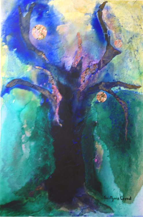 JOY MYERS CREED: TREE OF KNOWLEDGE Medium: Acrylic and collage Size: 61cm x 76cm 2015