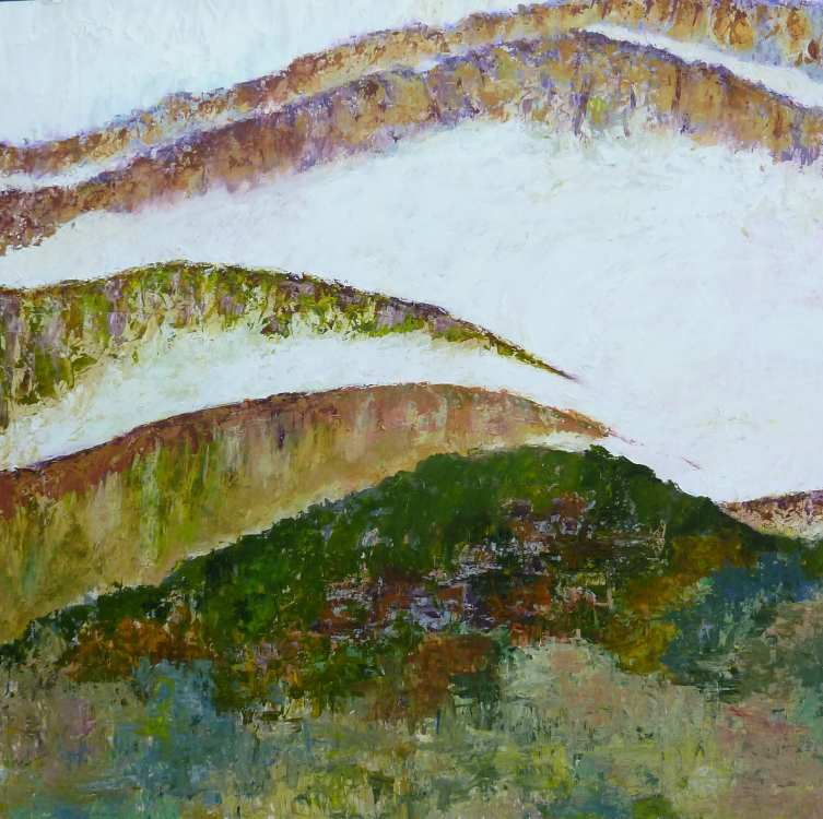 GILLIAN HAND: MISTY MOUNTAINS Medium: Acrylic painting with oil glaze Size: 78cm x 78cm 2014