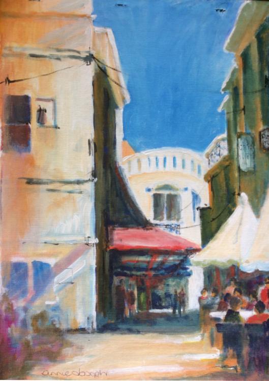 ANNIE JOSEPH: Olhao Alleys Medium: Acrylic Size: 30cm x 42cm 2015