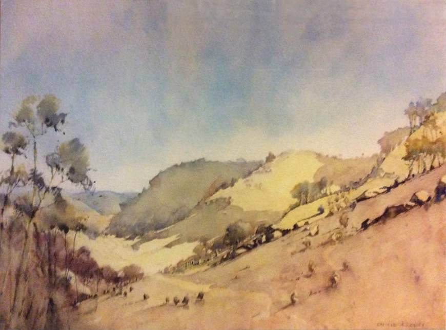ANNIE JOSEPH: Across the Valley Medium: Watercolour Size: 30cm x 42cm 2016