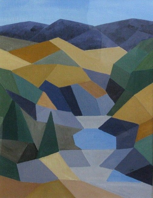JOHN MARSH: Adelong Falls Medium: Acrylic on paper Size: 35 x 27 cm 2015