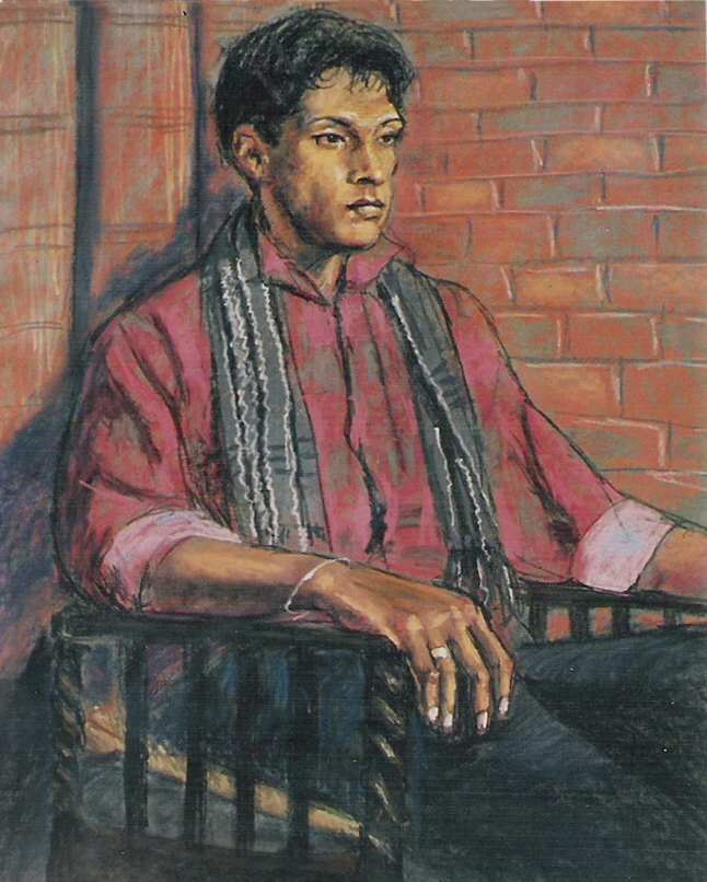 FIONA O'BEIRNE: Man in a chair Medium: Pastels Size: 60cm x 40cm