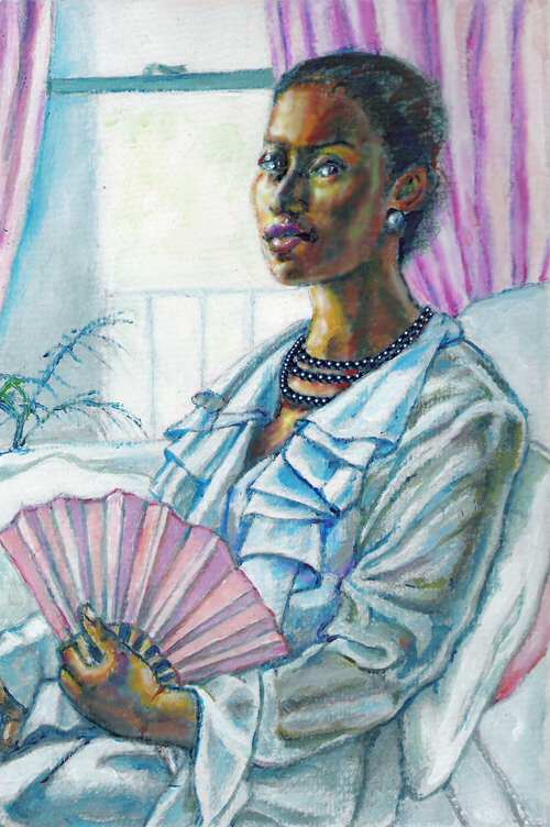 FIONA O'BEIRNE: Woman with a pink fan Medium: Acrylics Size: 21cm x 11cm