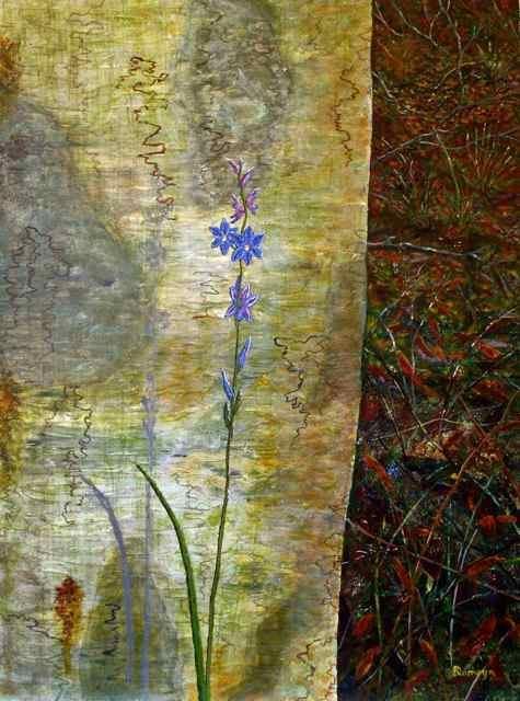 DIRK ROMEYN: Scribbly Gum with Sun Orchid Medium: Acrylic Size: 82cm x 62cm 2012