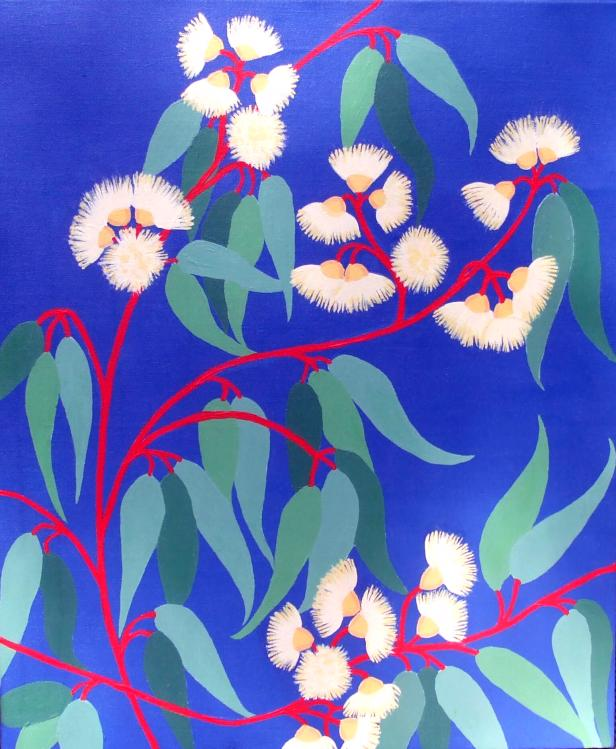 JEANNE RUDD: Gum Blossoms 5 Medium: Acrylic on canvas Size: 50 x 60cm 2016