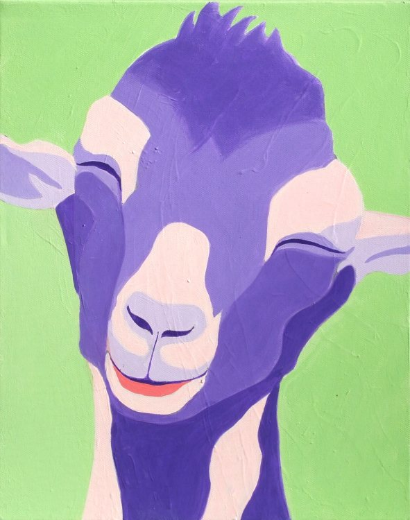 JEANNE RUDD: Gelato Goat Medium: Acrylic on canvas Size: 50 x 60cm