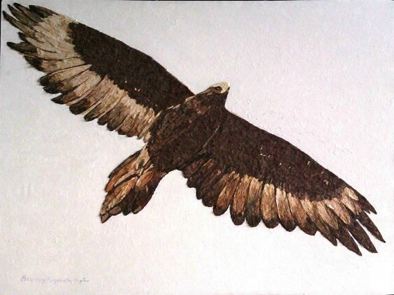 BEVERLEY TAYLOR: Wedge Tailed Eagle Medium: Tree Bark Art Size: 115cm x 75 cm 2016