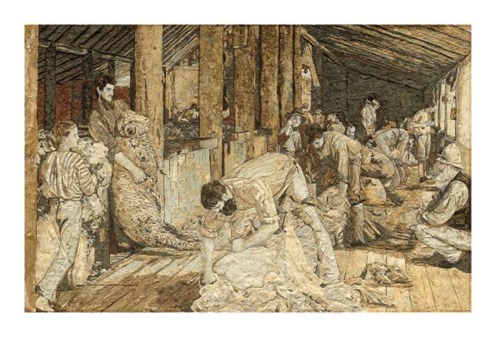 BEVERLEY TAYLOR: Shearing the Rams Medium: Bark Art, Giclee Print Size: 105cm x 75 cm 2015