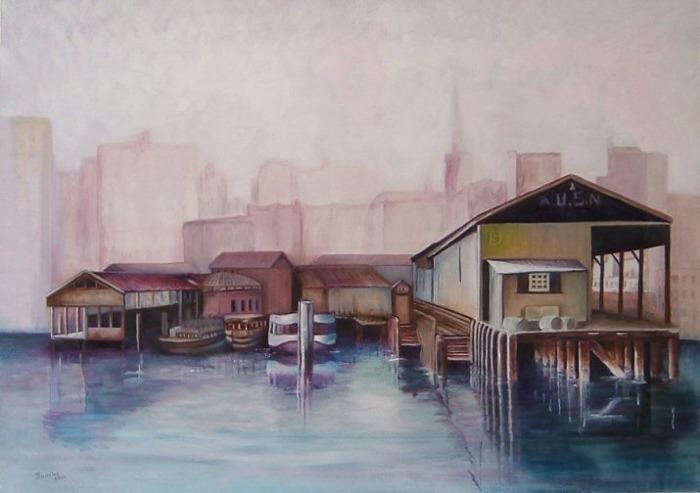 BEVERLEY TAYLOR: Sydney Pier Medium: Oil Size: 90cm x 60 cm 2000