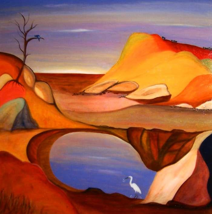 LYN WALKER: THE DREAMING Medium: Acrylic Size: 90cm x 90cm $950 2013