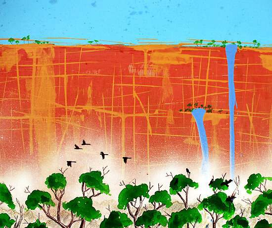 KIM GRACE: Wall 123 x 43 cm Acrylic & ink on stretched canvas